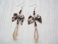 ANIMAL PRINT BOW LONG Faceted TEARDROP GEM BEADED SP Drop Earrings Leopard