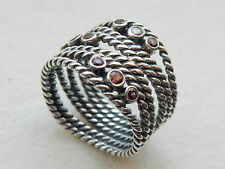 AUTHENTIC PANDORA RHODOLITE ROPE RING - 190863RHL - 52/L