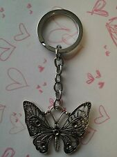 1 x Butterfly Keyring Stainless Steel 10.5cm Silver Keychain Collectable