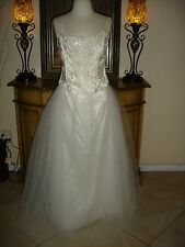 2 PC Jessica McClintock White Wedding Dress Strapless Low Price Beaded Tulle 7