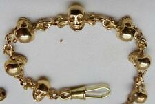 Victorian 19th Century 14K GOLD MEMENTO MORI SKULLS&BONES pocket watch chain fob