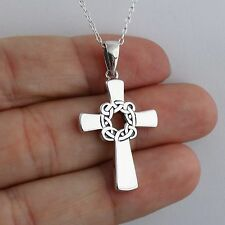 Celtic Knot Cross Necklace - 925 Sterling Silver Irish Faith Pendant Crosses NEW
