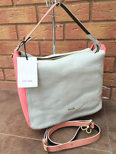 PAUL SMITH DOVE GREY, CORAL & PEACH WESTBOURNE HAND/SHOULDER BAG MADE IN ITALY