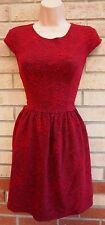 TOPSHOP RED BURGUNDY FLORAL QUILTED SKATER FLIPPY PARTY WINTER TEA DRESS 12 M