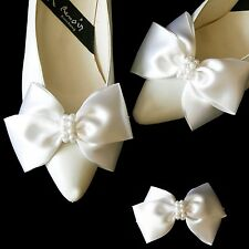 Bridal Couture Satin Big Bow Pearl Shoe Clips Wedding Ribbon Ornaments