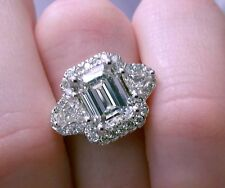 4.75 ct G VS2 emerald cut diamond 3 stone antique halo handmade ring 18k gold