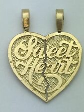 "14k Yellow Gold Broken Heart ""Sweet Heart"" Heart Charm Pendant 3.4 grams Jewelry"