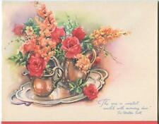 VINTAGE RED ROSES SWEET PEAS TEA POT CREAMER SILVER TRAY PRINT 1 FRIENDS CARD