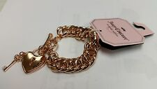 NEW JUICY COUTURE rose gold toned Heart Lock & Key Toggle Bracelet