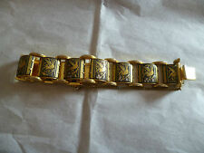 vintage 24k gold plated Toledo Spanish link bracelet bird design demescene