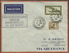 1er vol INDOCHINE France surtaxé SAIGON-HONGKONG 1938 INDOCHINA first flight