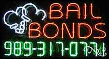 """NEW """"BAIL BONDS"""" W/YOUR PHONE NUMBER 37x20 REAL NEON SIGN W/CUSTOM OPTIONS 15044"""
