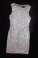 NWT bebe allover silver sequin sparkle shimmery sexy clubbing top dress XS 0 2