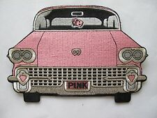 "7-7/8"" PINK CAR EMBROIDERY APPLIQUE PATCH"