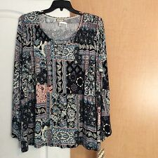 New Love On Hanger - Blue/multi Color Mix Printed Women Tunic Top Plus Size 2X