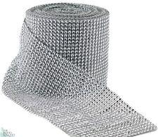 """4.75""""x10 Yards Silver DIAMOND MESH WRAP ROLL SPARKLE RHINESTONE Crystal Ribbon"""