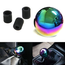 Car Neo Chrome Manual Round Shift Knob Shifter Ball Aluminum W/ 3Adapters