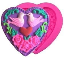 Heart Love Birds Silicone Mold for Fondant, Gum Paste & Chocolate - NEW