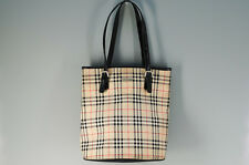 Authentic BURBERRY Tote Bag Checkered Beige Leather Canvas 598k31