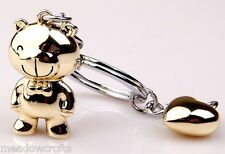 Teddy with Heart Key Ring NEW with Gift Box - UK Seller Love Gold Silver