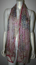 GUCCI Large Rectangle Silk Scarf Pink Tan Ivory Animal Print Plaid Italy