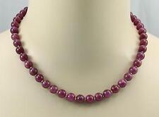 Rubin Kette roter Rubin rund als Kugel Halskette für Damen 45,5cm lang 270 Karat