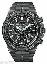 NEW CITIZEN ECO DRIVE MENS CHRONO. PERP. CAL. DIVERS ION PLATED WATCH BL5435-58E