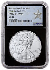 2017 (W) American Silver Eagle NGC MS70 ER (West Point Star W/Black) SKU45363