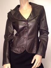 ARMANI COLLEZIONI Brown Patch Pockets Top Stitch Leather Jacket It 46 UK 14