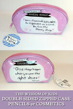 Wisdom of Kids PENCIL COSMETIC CASE Pink Zip Dbl-Sd CINDERELLA SHOES DISNEY MASK