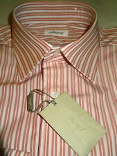 NEW $600 men BRIONI ITALY DRESS SHIRT 15.5 R 35 SL Red beige White Stripes b15