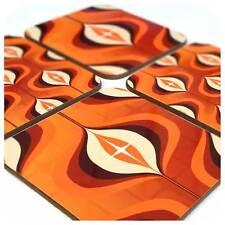 Mid Century Op Art Coasters, Orange coasters,1970's style, retro coasters,