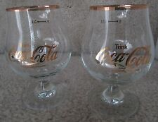 Trink Coca-Cola Glass Snifter Lot of 2 from Germany Goblet w/Gold Trim, 03L