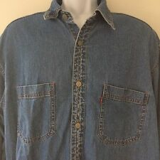 Levis Red Tab Authentic Jeanwear Denim Metal Button Up L/S Large Mens Shirt Blue