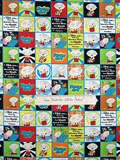 Camelot Cotton Fabric - Family Guy Stewie Griffin Blocks Red Green Blue /Yd