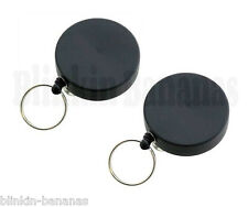 2 PLAIN BLACK RETRACTABLE EXTENDING PULL OUT CORD KEYRING HOLDER CHAIN BELT CLIP