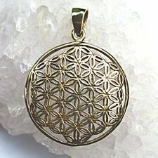 Curved Flower of Life Pendant Bronze~Sacred Geometry~Pagan~Reiki~Jewellery~25mm