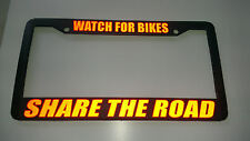 BLACK WATCH FOR BIKES SHARE THE ROAD RED License Plate Frame REFLECTIVE SAFETY