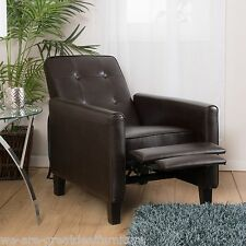 Living Room Furniture Brown Tufted Leather Club Chair Recliner