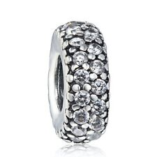 Pave Crystals Spacer 925 Sterling Silver Fine European Charms For Bead Bracelet