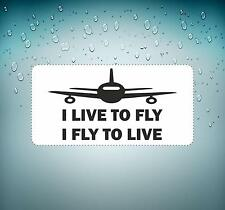 Sticker decal macbook car airplane aircraft airport pilot live to fly to live
