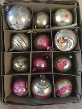 ANTIQUE LOT 12 CHRISTMAS MERCURY GLASS ORNAMENTS PAINTED ROSE PANSY SILVER PINK