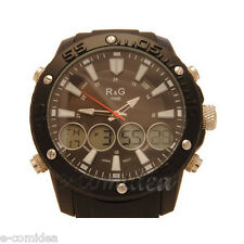OROLOGIO R&G TIME CHRONO MULTIFUNZIONE SPORT WATCH DIGITALE ANALOGICO NERO