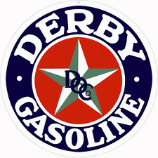 "Blue Derby Gasoline Sign. 14"" Round Gas and Oil"