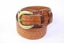 Bianchi tan embossed basket weave overlap tip mens leather belt 32