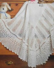 KNITTING PATTERN - BEAUTIFUL VINTAGE LACE PATTERNED BABY SHAWL IN 3-PLY