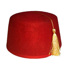 Adult Casablanca Moroccan Felt Turkish Army Dr. Who Shriner Fez Tarboosh Red
