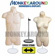 (SET 2)Male Female Mannequin +1 Stand,Clothing Display Dress Hanger Form - FLESH
