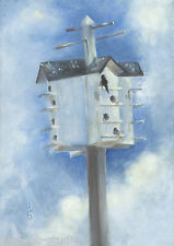 "Daily Painting a Day Sepos ""High-rise Condo, Birdhouse"" bird aviary house martin"