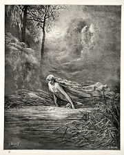 Vintage print circa 1870 Dante's Purgatory by Gustave Dore